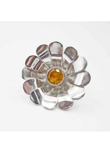 Broche paquerette, fleur argent et citrine
