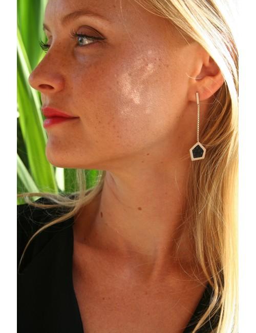 Boucles d'oreilles cuir de galuchat noir