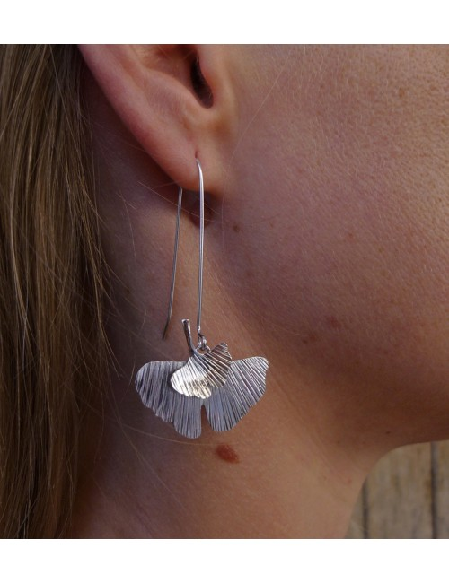Boucles d'oreilles Ginkgo argent rhodié