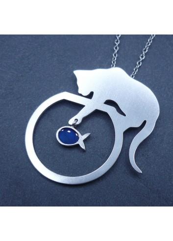 Collier chat/poisson bleu en argent 925 rhodié