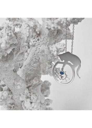 collier chat corail et poisson bleu argent rhodié