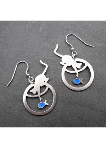 Boucles d'oreilles chat poisson bleu argent