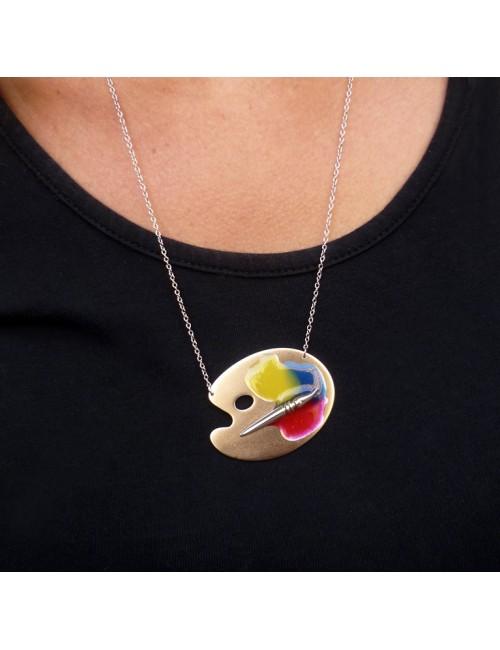 collier palette de peinture argent rhodié