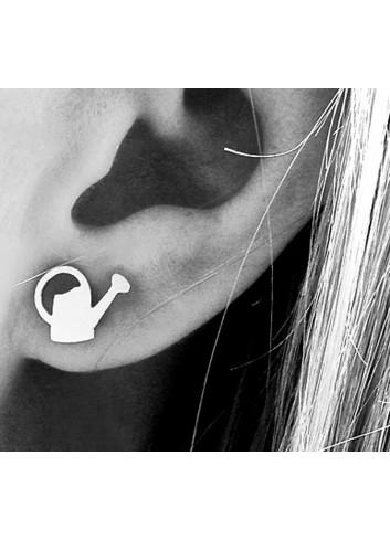 Boucles d'oreilles puces arrosoirs en argent 925 rhodié