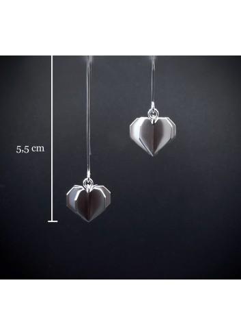 Boucles d'oreilles coeur volume argent rhodié