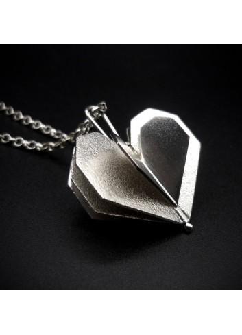 collier sautoir coeur argent rhodié