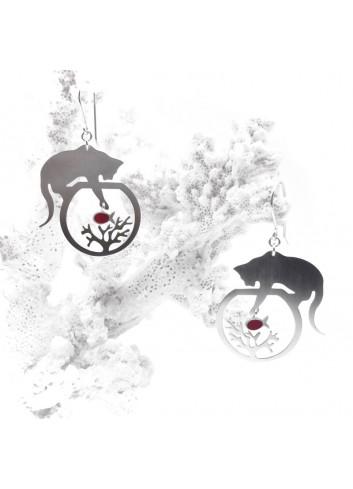 Boucles d'oreilles chat/poisson/corail argent rhodié