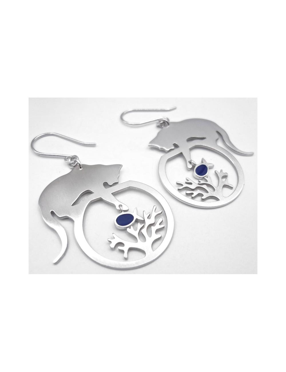 Boucles d'oreilles chats/corail/poissons bleus argent rhodié