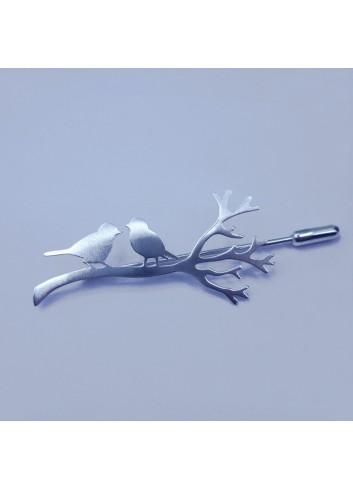broche fibule oiseaux en argent rhodié