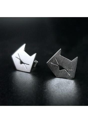boucles d'oreilles chat graphique argent rhodié