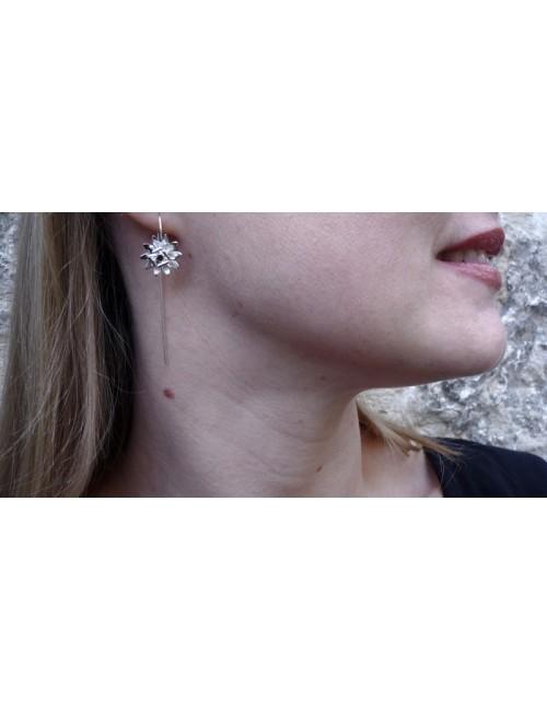 Boucles d'oreilles passiflores argent rhodié