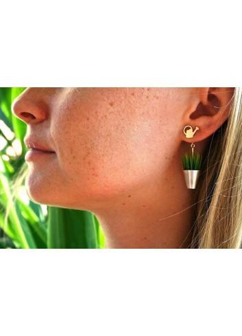 Boucles d'oreilles herbe arrosoir argent