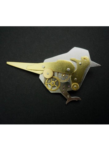 Broche Oiseau engrenages