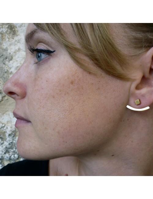 Boucles d'oreilles souligne lobe dorées