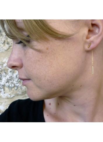 Boucles d'oreilles fines et élégantes diamantées dorées or fin