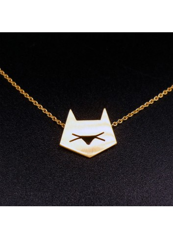 Collier chat graphique doré à l'or fin