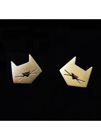boucles d'oreilles chat graphique dorée à l'or fin