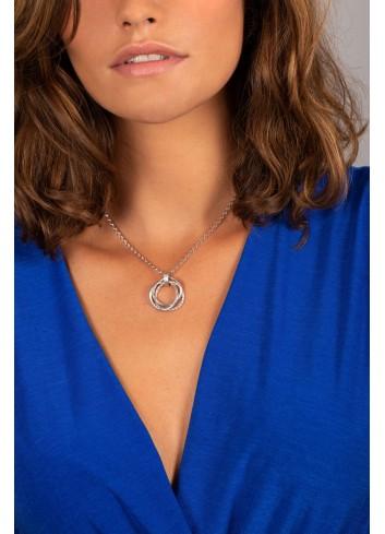 Collier anneaux de Borromée en argent rhodié