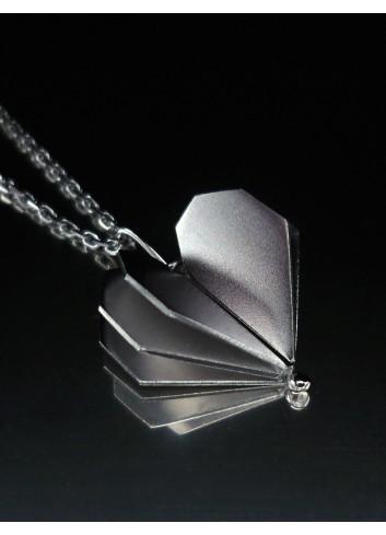 Collier coeur argent rhodié